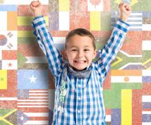Happy multilingual boy